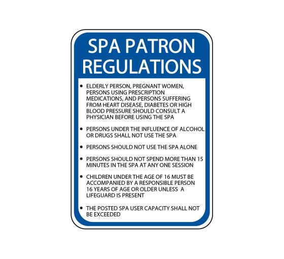 Spa Patron Regulations Sign