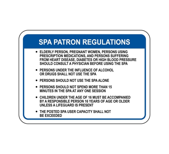 Spa Patron Regulations Sign