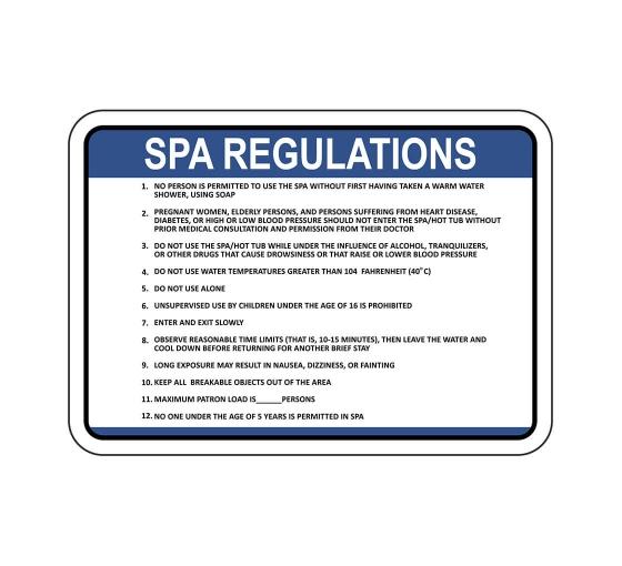 Spa Regulations Sign