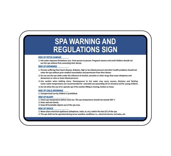 Spa Warning And Regulations Sign