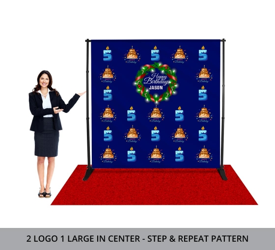 7/' x 7/' Full Color Custom Step and Repeat Backdrop Banner