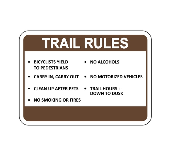Trail Rules Bicyclists Yield To Pedestrians Sign