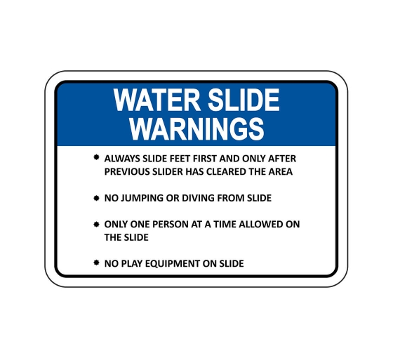 Waterslide Warnings Sign
