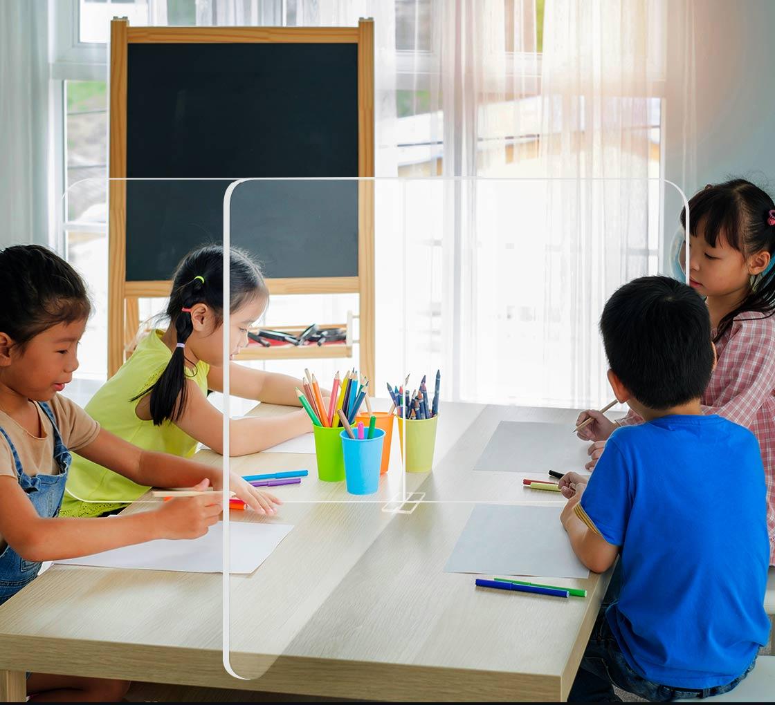 Details about  /Clear Plastic Sneeze Guard for Office School Student Desk Cafeteria Partition